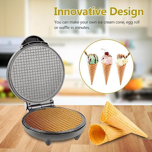 Electric Crispy Egg Roll Maker Omelet Sandwich Iron Crepe Baking Pan Waffle Pancake Oven DIY Ice Cream Cone Machine EU UK Plug