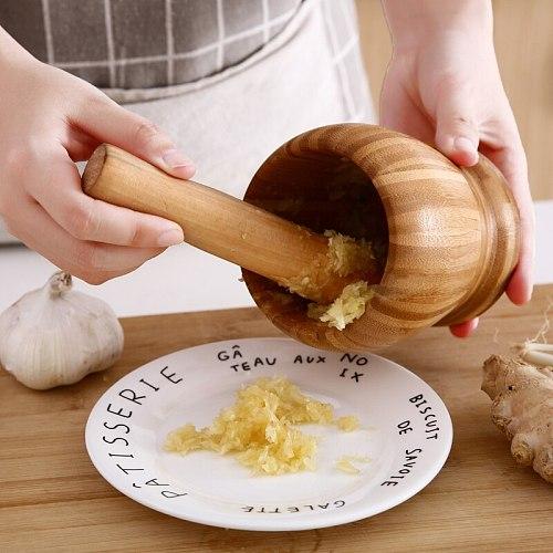 Garlic Press Wood Mortar And Pestle Set Manual Ginger Spices Mortar Pestle Set Grinding Bowl Grinder Kitchen Tool mx11020943