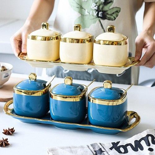 Phnom Penh seasoning jar ceramic household kitchen three-piece seasoning box salt jar MSG set combination with tray