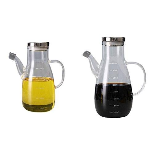 High Borosilicate Glass Olive Oil Vinegar Pot Dispenser Bottle Can Cruet Vinegar Bottles Cooking Oil Glass Bottle