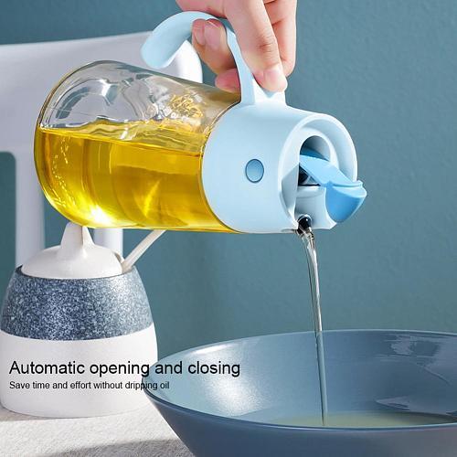 Auto Flip Olive Cooking Seasoning Bottle Dispenser Sauce Bottle Glass Storage Bottles for Oil and Vinegar Creative Kitchen Tools