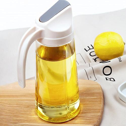 Leakproof Glass Oil Bottle Can Automatic Opening Seasoning Dispenser with Handle