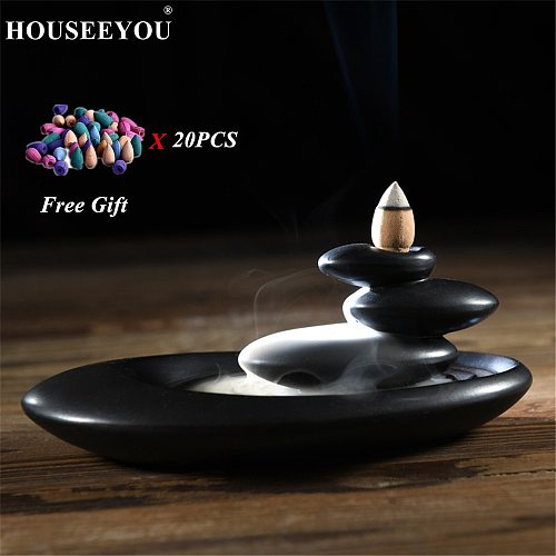HOUSEEYOU Backflow Incense Burner Home Decor Creative Ceramic Buddhist Censer Aromatherapy Incense Holder + 20Pcs Incense Cones