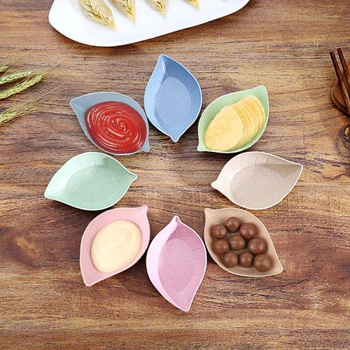 Safe And Healthy Wheat Straw Food Rice Bowls Spoons Sets Fruit Snack Plate Seasoning Sauce Dish Cute Salt Vinegar Small Plate