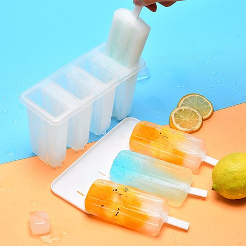 4 Cells Popsicles Mold Ice Cream Mold DIY Popsicle Maker Lolly Mould Tray Pan Ice Maker Tool Homemade DIY Kids Tools