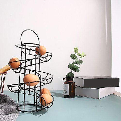 Spiral Egg Bracket Iron Black Spiral Egg Holder Organizer Rack Stand For Kitchen Spiral Egg Bracket  Spiral Egg Holders Hollow