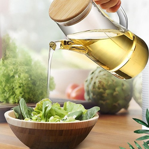 750ML Leak-Proof Glass Oil Can Sauce Bottle Transparent Glass Storage Bottle Vinegar Bottle Soy Seasoning Bot