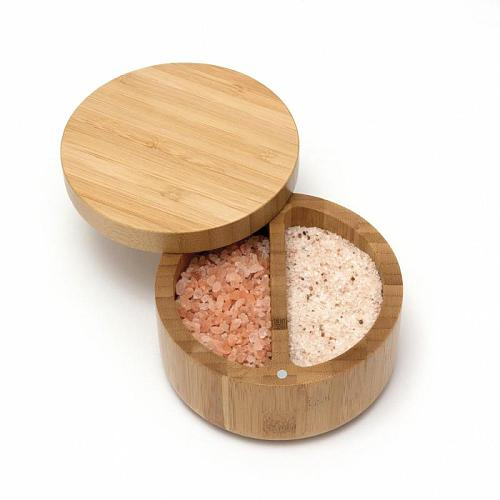 Natural Bamboo Salt and Spice Box with Magnetic Swivel Lid Round Bamboo Seasoning Jar Herb Storage Container