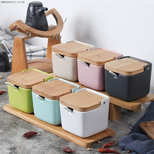Creative Japanese-style clamshell ceramic seasoning jar/salt pepper bottle flavoring tool seasoning jar kitchen supplies