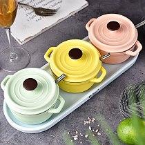 Color Sugar Bowl Salt Shaker Seasoning Spice Jar Seasoning Bottle 3 Piece Set Kitchen Household Condiment Storage Jar With Tray