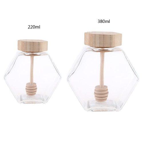 220ML/380ML Hexagonal Glass Honey Bottle with Wooden Stirring Rod