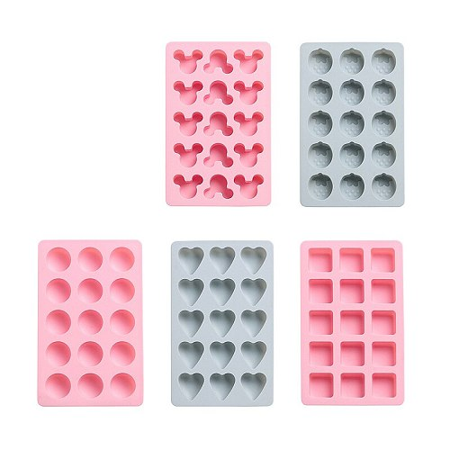 Honeycomb Ice Cube Tray 15 Cubes Silicone Strawberry Mickey Shape Ice Cube Maker Mold With Lids For Party Whiskey Drink