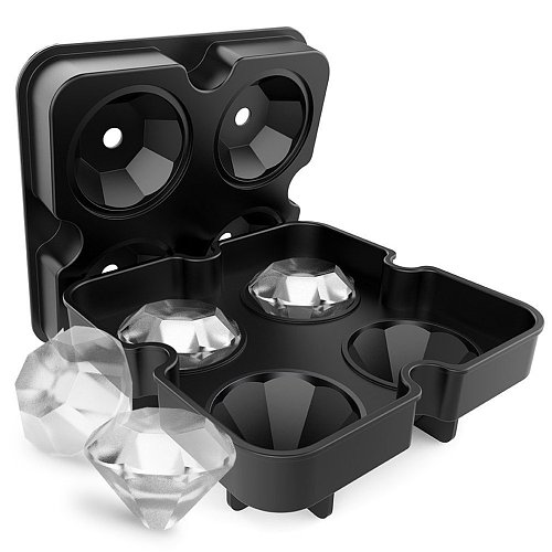 4 Grid Diamond Ice Cube Tray Reusable Ice Cubes Maker Silicone Ice Cream Molds Form Chocolate Mold Whiskey Party Bar Tools