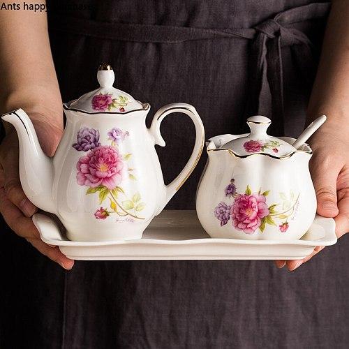 European Ceramic Seasoning Jar Soy Sauce Bottle Set Kitchen Household Vinegar Oil Can Salt and Sugar Seasoning Box Combination
