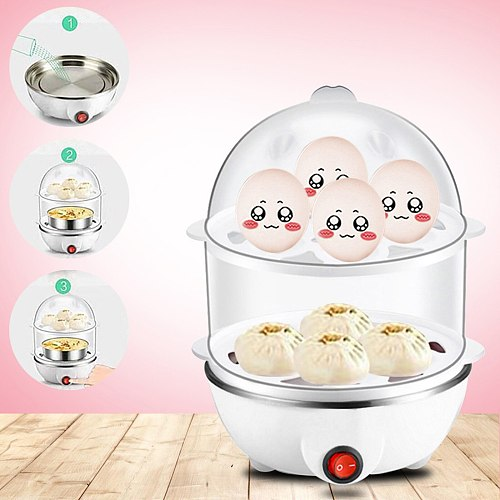 Eggs Cooker Double Breakfast Machine Stainless Steel Multi-function Steamer Boiled Egg Artifact Small Steaming Kitchen Hot#G30