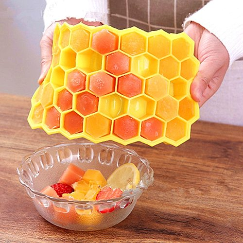 Home Kitchen Ice Cube Tray Summer Honeycomb Shape Ice Cube 37 Cubes Ice Tray Ice Cube Mold Storage Containers Drinks Molds