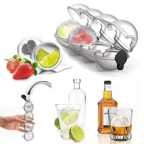 4 Cavity Homemade Round Ball Ice Mold DIY Ice Cream Maker Plastic Ice Mould Whiskey Ice Tray Bar Tool Kitchen Gadget Accessories