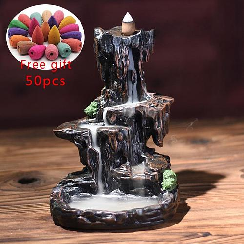Mountains River Waterfall Incense Burner Fountain Backflow Aroma Smoke Censer Holder Office Home Unique Crafts+50 Incense Cones