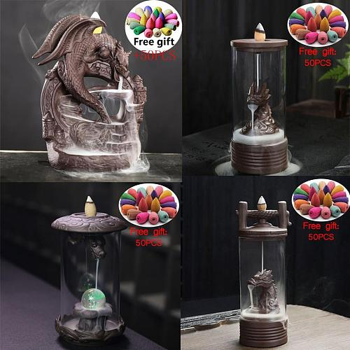 20Cones Chinese Dragon Incense Burner Ceramic Waterfall LED Light Incense Cones Holder Aroma Censer With Acrylic Windproof Cover