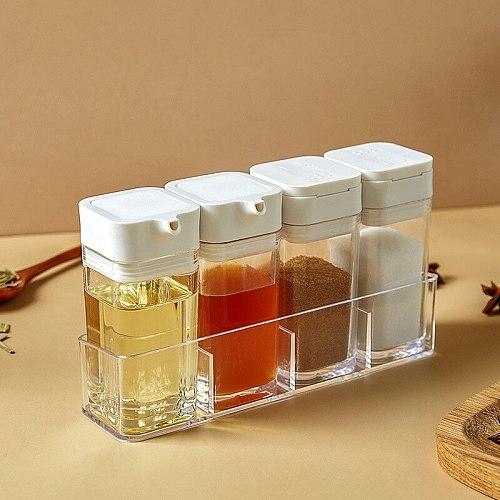 Barbecue Spice Salt Pepper Shakers Seasoning Jar Can Pepper Bottle Condiment Kitchen Oil Bottle Transparent Gadget Tool