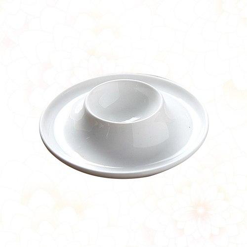 Ceramic Egg Cup Round Breakfast Egg Holder Practical Egg Stand Egg Rack Home Restaurant - White (Size)
