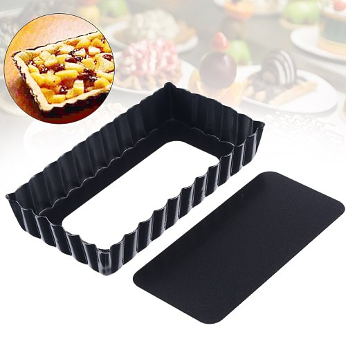 4.5Inch Fluted Pie Pan with Removable Bottom Tart Quiche Pan Non-stick Rectangle Egg Tart Mold Plate Baking Tools