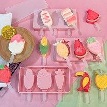 Silicone Ice Cream Mold Creativity 3 Cell Ice Cream Maker Lolly Mould Tray Kitchen Ice Cream Diy Mold Форма Для Кубиков Льда
