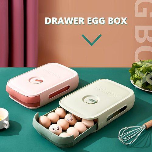 Fresh Keeping Egg Box Drawer Type Household Storage Box Refrigerator Egg Tray Dumpling Box Storage Box With Lid Kitchen Tools