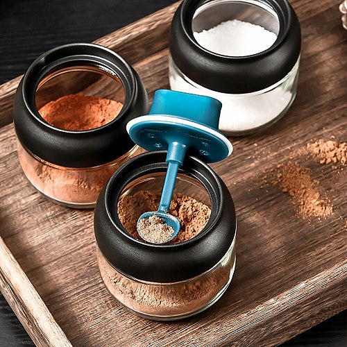 Multifunctional Kitchen Glass Spice Jars With Lid Salt And Pepper Shakers Set Seasoning Organizer Herbs Soy Sauce Oil Bottle