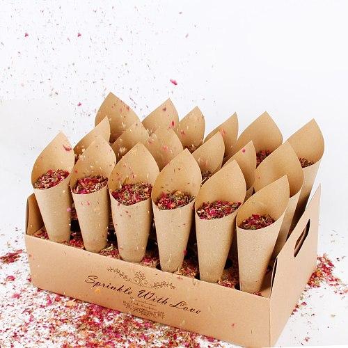 QIFU confetti cone holder natural confetti cone stand box tray for wedding decoration custom confetti cones-White-Kraft