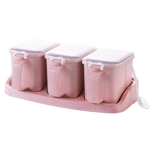Pressed wheat flavor seasoning box plastic seasoning box set kitchen household salt pot creative seasoning box seasoning pot