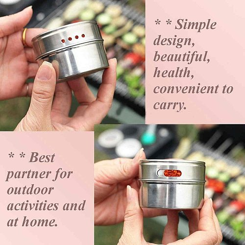 Magnetic Spice Jars With Wall Mounted Rack Stainless Steel Spice Tins Spice Seasoning Containers