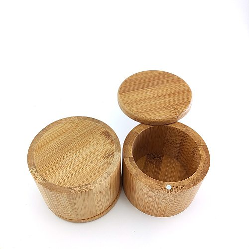 Natural Bamboo Seasoning Jar Eco friendly Salt Can Sugar Spice Bottle With Screw Cap Kitchen Tea Storage Box Containers  Jars