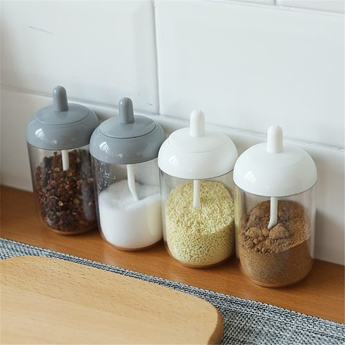 1 Pcs Canister Spoon Set Plastic Spice Jar Condiment Dispenser Salt Pepper Shakers Seasoning Bottle Kitchen Accessories GH925