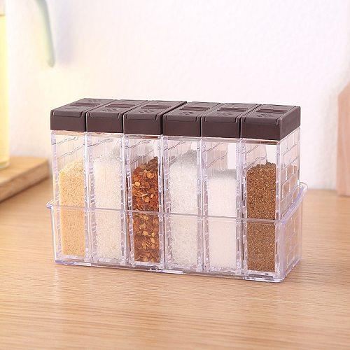 Creative Plastic Seasoning Box Seasoning Bottle Jar Set Kitchen Seasoning Sub-bottling Combination Storage Arrangement Box