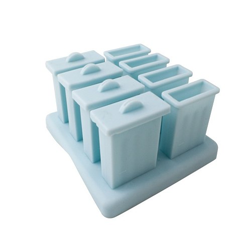 Silicone Ice Tray Ice Mould 8 Ice Cream Mould Ice Cube Tray Popsicle Barrel Diy Mold Dessert Ice Cream Mold with Popsicle Stick