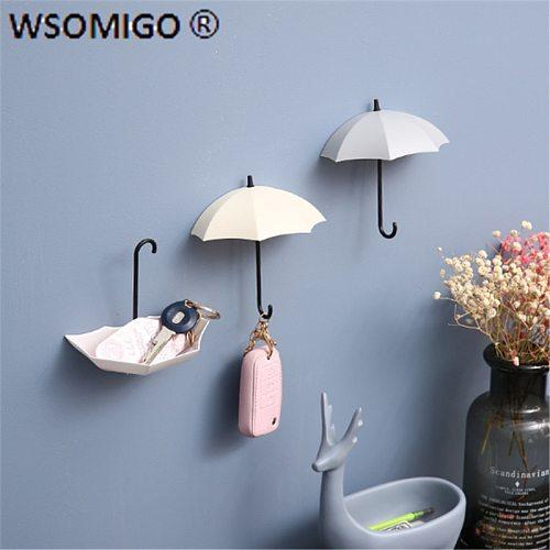 3pcs/pack Kitchen Accessories Plastic Umbrella Strong Adhesive Hook Key Hook Home Decoration Wall Hanging Shelf Kitchen Gadget-C
