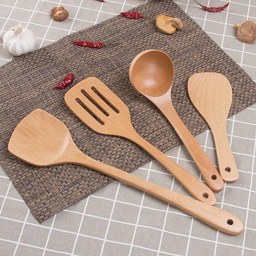 Kitchen Utensils Wooden Cooking Utensil Set Natural Non Stick Cookware Tools