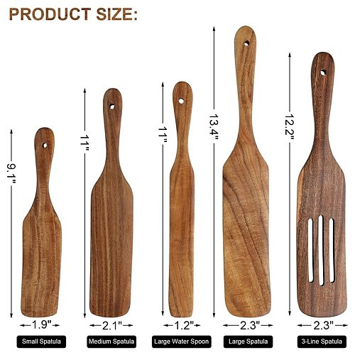 Teak Wood Spurtle 5-Piece Set, Cooking Utensil Set Heat Resistant Non Stick Wood Cookware, Slotted Spurtle Spatula Sets