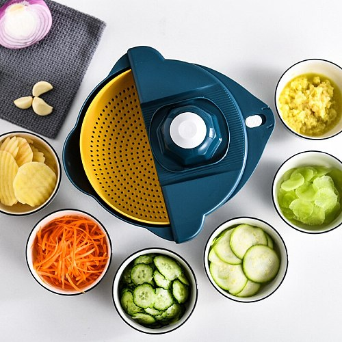 New Multifunctional Vegetable Cutter 12-Piece Slicer Potato Peeler Carrot Onion Grater with Strainer Kitchen Accessories