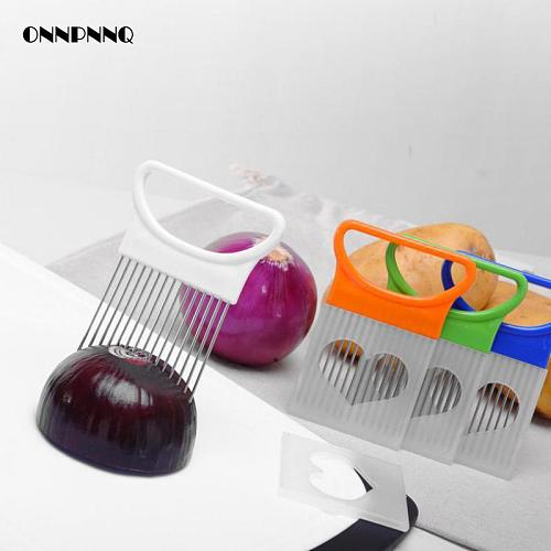 Creative Tool Stainless Steel Onion Needle Vegetable Slice Fixer Fruit Tomato Slicer Vegetable Chopper For Kitchen  Accessories