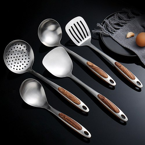 Stainless Steel Frying Spatula Soup Rice Spoon Colander Cooking Utensils Imitation Wooden Handle Household Kitchen Supplies