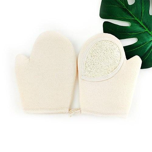 Wash Scrub Gloves Shower Strip For Body Brush Natural Bamboo Fiber Bath Exfoliating Glove Scrubber Washcloths Bathing Glove