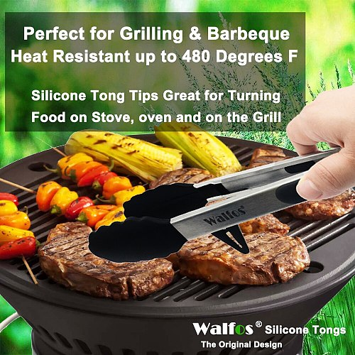 WALFOS  22 CM And 30CM Food Grade 100% Silicone Food Tong Kitchen Tongs Utensil Cooking Tong Clip Clamp Salad Serving BBQ Tools