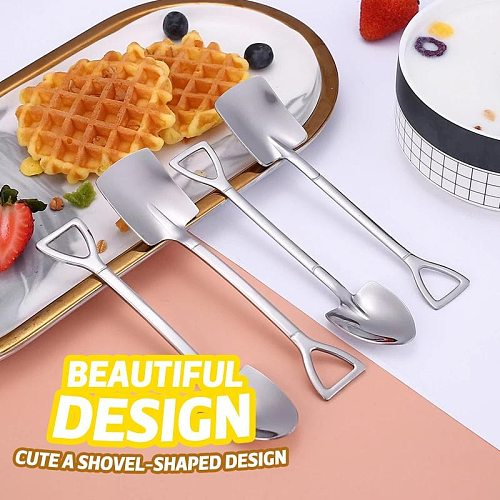 4PCS Coffee Spoon Cutlery Set Creative Ice Cream Spoon  Stainless Steel Shovel Ice Cream Spoon Scoop Dessert Spoon Christmas