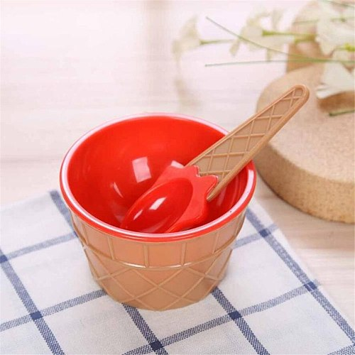 New 1Set Kids Ice Cream Bowl Spoon Set Durable Children Gifts Lovely Dessert Bowl DIY Ice Cream Tools icecream bowl+spoon