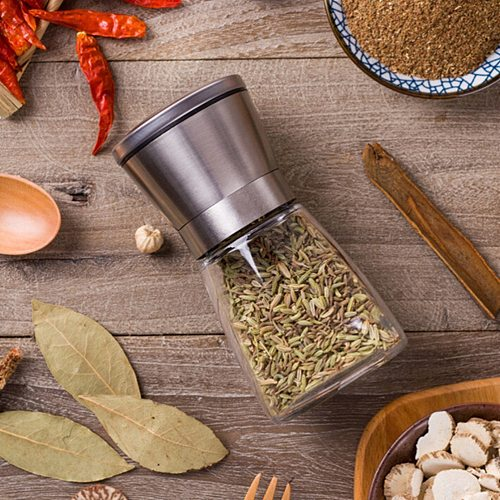 1PCS Fashion Stainless Steel Mill Glass Body Spice Salt and Pepper Grinder Kitchen Accessories Cooking Tool