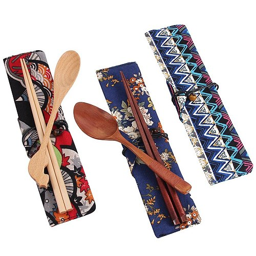 Japan style wooden chopsticks sushi dinnerware set convenient  utensils for food sticks outdoor travel giel gifts with cloth bag