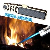 2021  New Strong Outdoor Long Gun Spray Butane Tube Lighter Kitchen Barbecue Metal Turbine Windproof Cigar Lighter