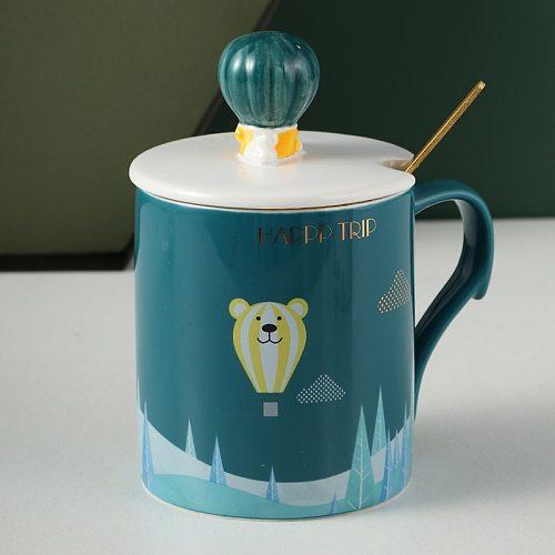 Mugs with cover scoop ceramic water cup simple office art creative Nordic INS dark green men's coffee breakfast